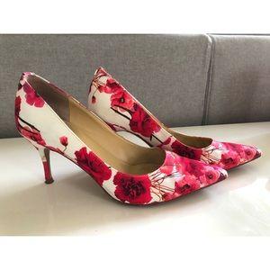 Ivanka Trump Pink and White Floral Heels